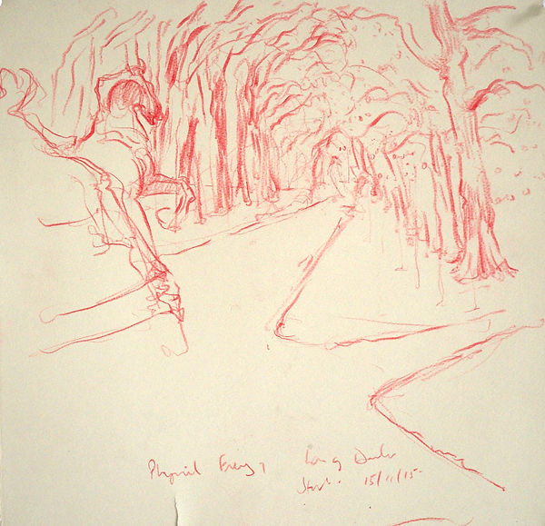 A Harrow Journey - Long Ducker, The Start of the Race, Hyde Park, 15-11-15. Crayon on paper. Simon Page