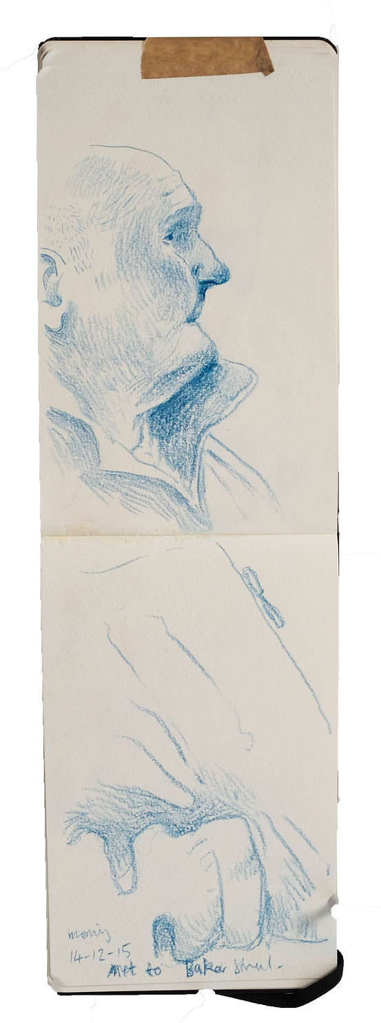 Tube Travellers - Harrow on the Hill to Baker Street, 14-12-15. Crayon on paper. Simon Page