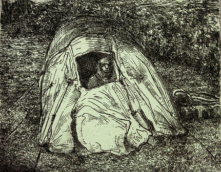 A Harrow Journey - Nomad II, 2011. Etching. Simon Page