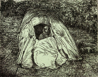 Nomad II, etching, 2011. Simon page
