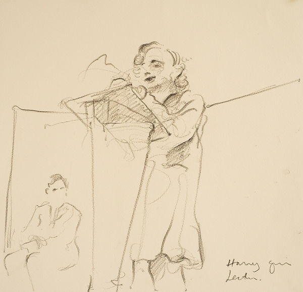 A Harrow Journey - 39 Steps,Hannay makes a speech, Rendalls House Play - rehearsal, January 2016 Crayon on paper. Simon Page