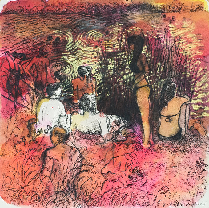 Festival drawings- Sunday afternoon at the lakeside, Cornbury Park, Wilderness Festival, 8-8-15 Crayon and ink on paper. Simon Page