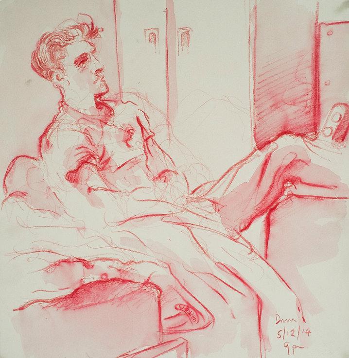 A Harrow Journey - Hugo, Druries, 9pm, 5-12-14. Crayon and wash on paper. Simon Page