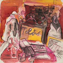 Marrakech Suite - The Medina, 25-3-15 Crayon and watercolour on paper. Simon Page