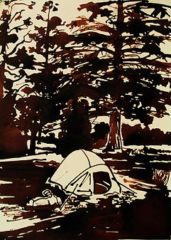 Campsite II, ink on paper, 2011. Simon Page