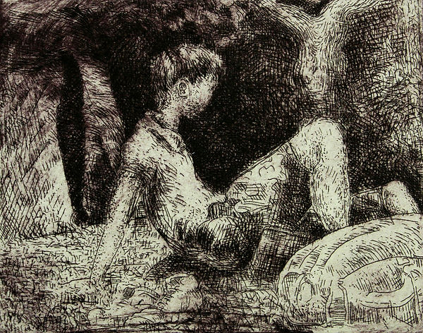 A Harrow Journey - Relaxing, Villes Hautes, 2011. Etching. Simon Page