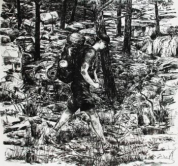 L'homme qui marche. Charcoal on paper, 2012. Simon Page