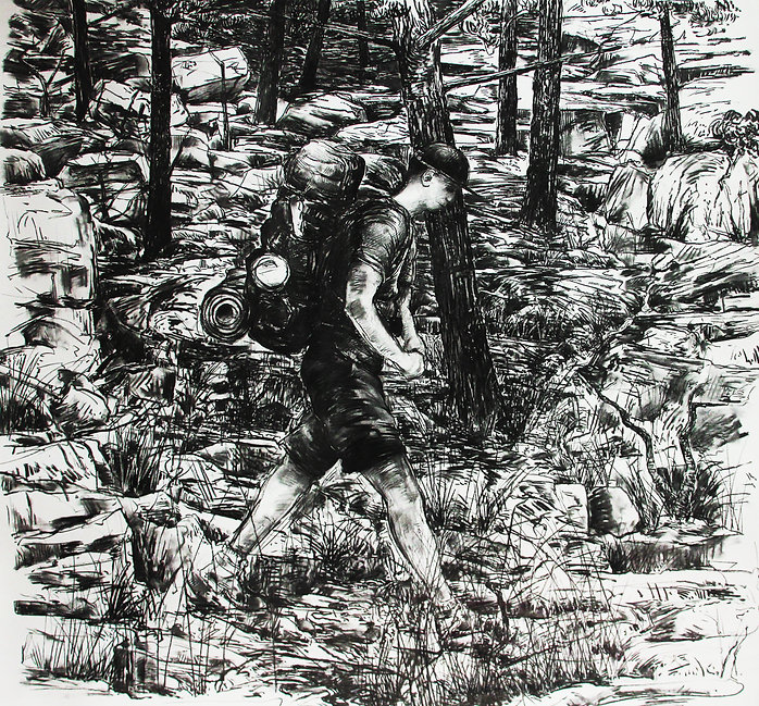 A Harrow Journey - 'L'homme qui marche'. Charcoal on paper. Simon Page