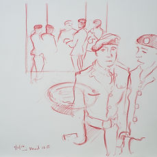 A Harrow Journey - Remembrance Sunday, waiting for their moment, The War Memorial, 9-11-14. Crayon on paper. Simon Page