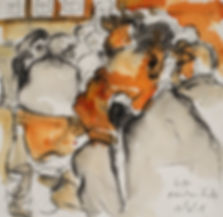 A Harrow Journey - Mark, Moretons Finds Dinner, May 2015. Crayon and ink on paper. Simon Page