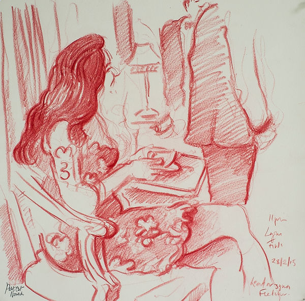 A Harrow Journey - Finds Dinner, Lyons, 28-2-15. Crayon on paper. Simon Page