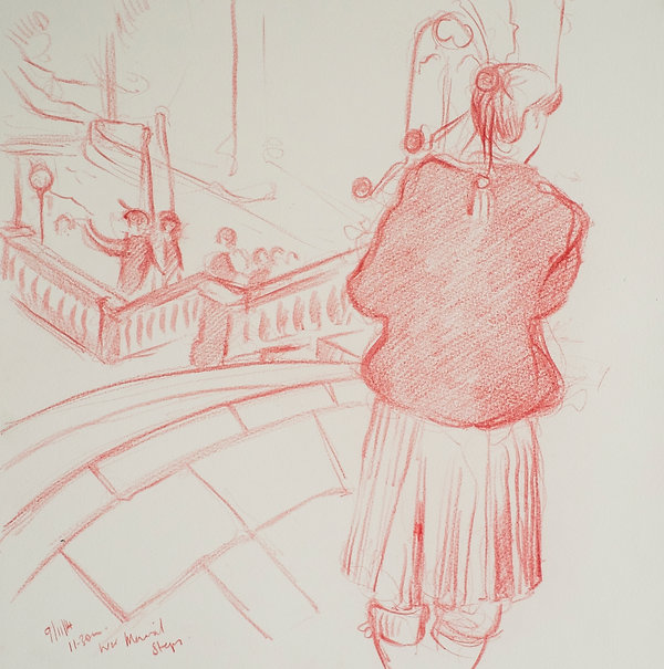 A Harrow Journey - On the steps of The War Memorial, 11.30, 9-11-14 Crayon on paper. Simon Page