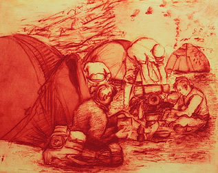 Lunch on the grass, a Homage to Manet, 2011. Solar etching. Simon page