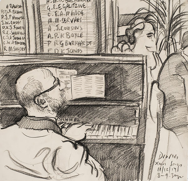A Harrow Journey - Xmas Songs, Druries, Sean on the piano, 11-12-14. Crayon on paper. Simon Page
