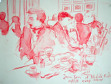 A Harrow Journey - James, Elmfield Finds Dinner. Crayon and wash on paper. Simon Page