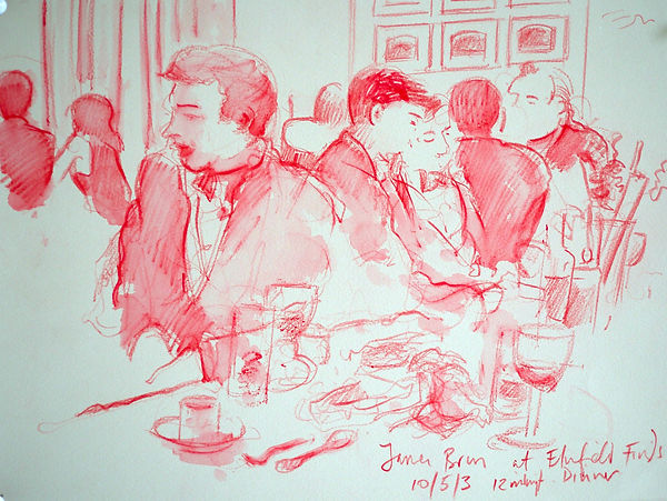 A Harrow Journey - James, Elmfield Finds Dinner, 10-5-13. Crayon and wash on paper. Simon Page