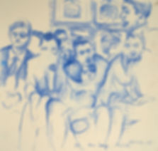 A Harrow Journey - Xmas House Songs, Rendalls, 10-12-15. Crayon on paper.