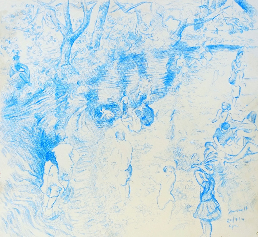 20-7-14, 6pm, the river II, Somersault Festival. Crayon on paper. Simon Page