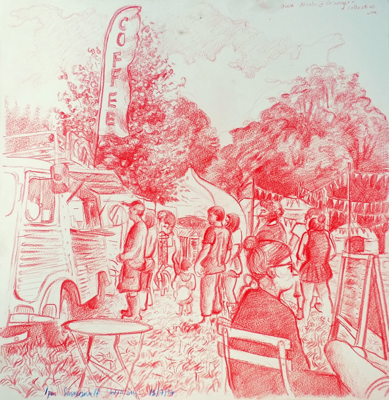 18-7-14, 1pm, by The Coffee Camper, Well Being Zone, Somersault Festival. Crayon onj paper. Simon Page