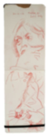Tube Travellers- Finchley Road to London Bridge, 20-2-16 Crayon on paper. Simon Page