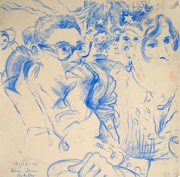 A Harrow Journey - Vivien and David, Xmas Supper, Rendalls, 10-12-15. Crayon on paper. Simon Page.
