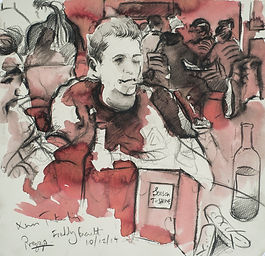 A Harrow Journey - Freddy, Tutor trip, Prezzo Harrow, 10-12-15. Crayon and ink on paper. Simon Page