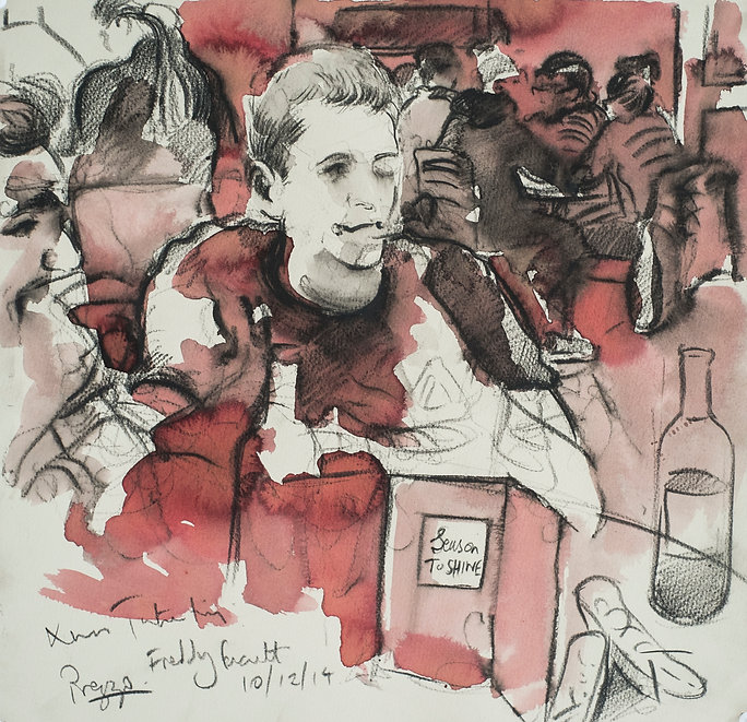 A Harrow Journey - Freddy, Tutor trip, Prezzo Harrow, 10-12-15. Crayon and ink on paper. Simon Page