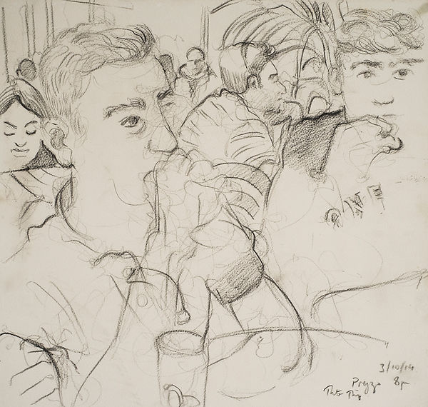 A Harrow Journey - Rory and Hugo, Prezzo,  3-10-14, 7.30-8pm, crayon on paper. Simon Page
