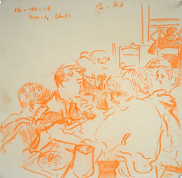A Harrow Journey - Shells, Dining Hall, 16-10-15. Conte on paper. Simon Page