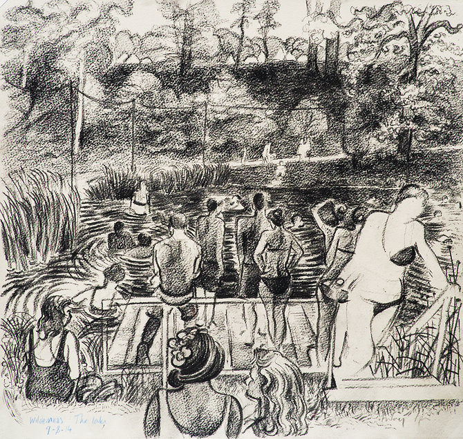 Festival drawings- Saturday afternoon at the swimming lake, Cornbury Park, Wilderness Festival, 9-8-14 Conte on paper. Simon Page