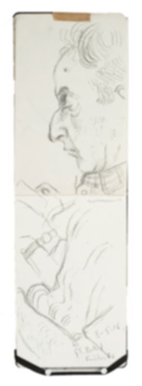 Tube Travellers- Great Portland Street to Finchley Road, 8-5-16 Crayon on paper. Simon Page
