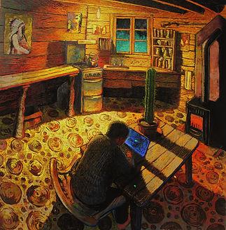 Black Dog, pastel on paper, 1.4mx1.4m, 2012. Simon Page
