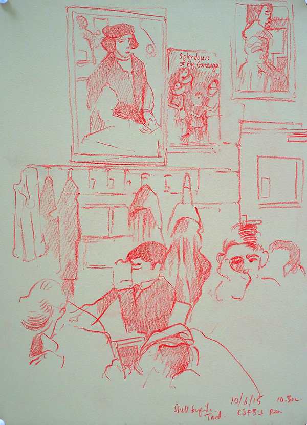 A Harrow Journey - Shell English Trial, CJFB's Room, 10-6-15. Crayon on paper. Simon Page.