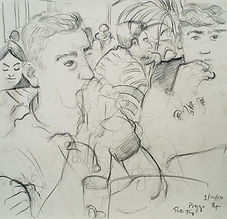 A Harrow Journey - Rory and Hugo, Prezzo,  3-10-14, 7.30-8pm, crayon on paper. Simon Page.jpg