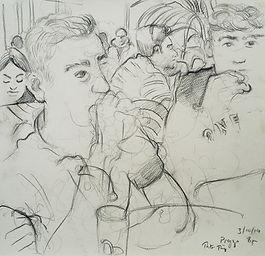 A Harrow Journey - Rory and Hugo, Prezzo,  3-10-14, 7.30-8pm, crayon on paper. Simon Page.jpg