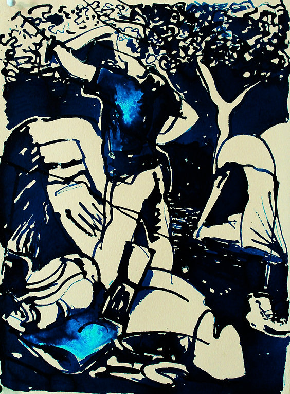 A Harrow Journey - Night time I, 2011. Ink on paper. Simon Page
