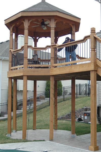 gazebo cedar drop rail