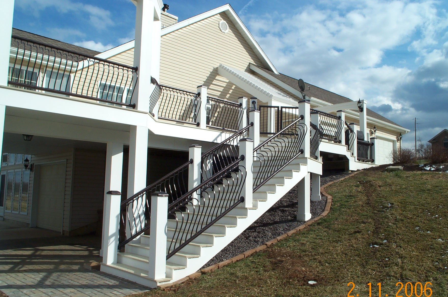 white deck stairs