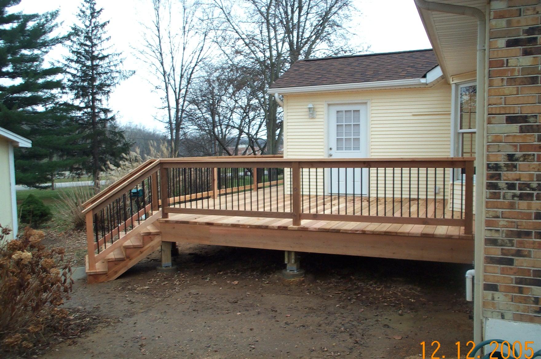 cedar deck angled stairs