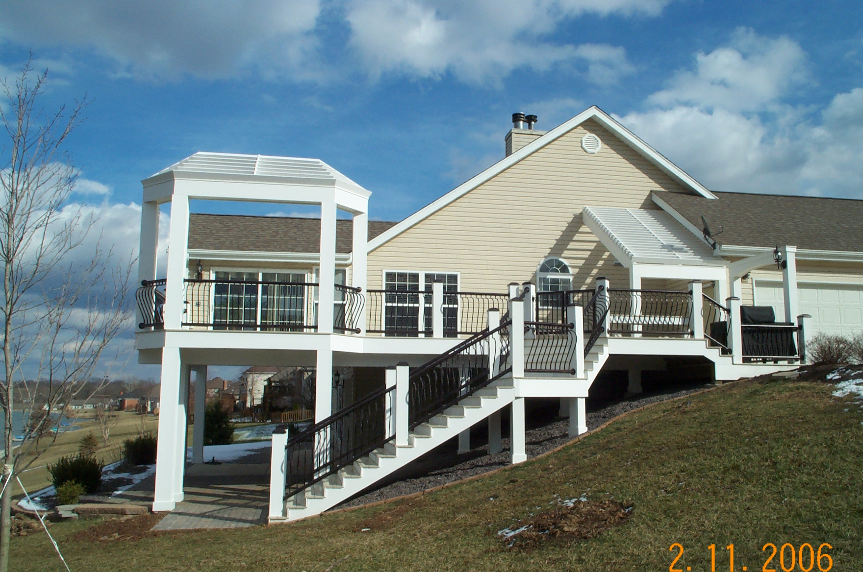 large deck pergola white