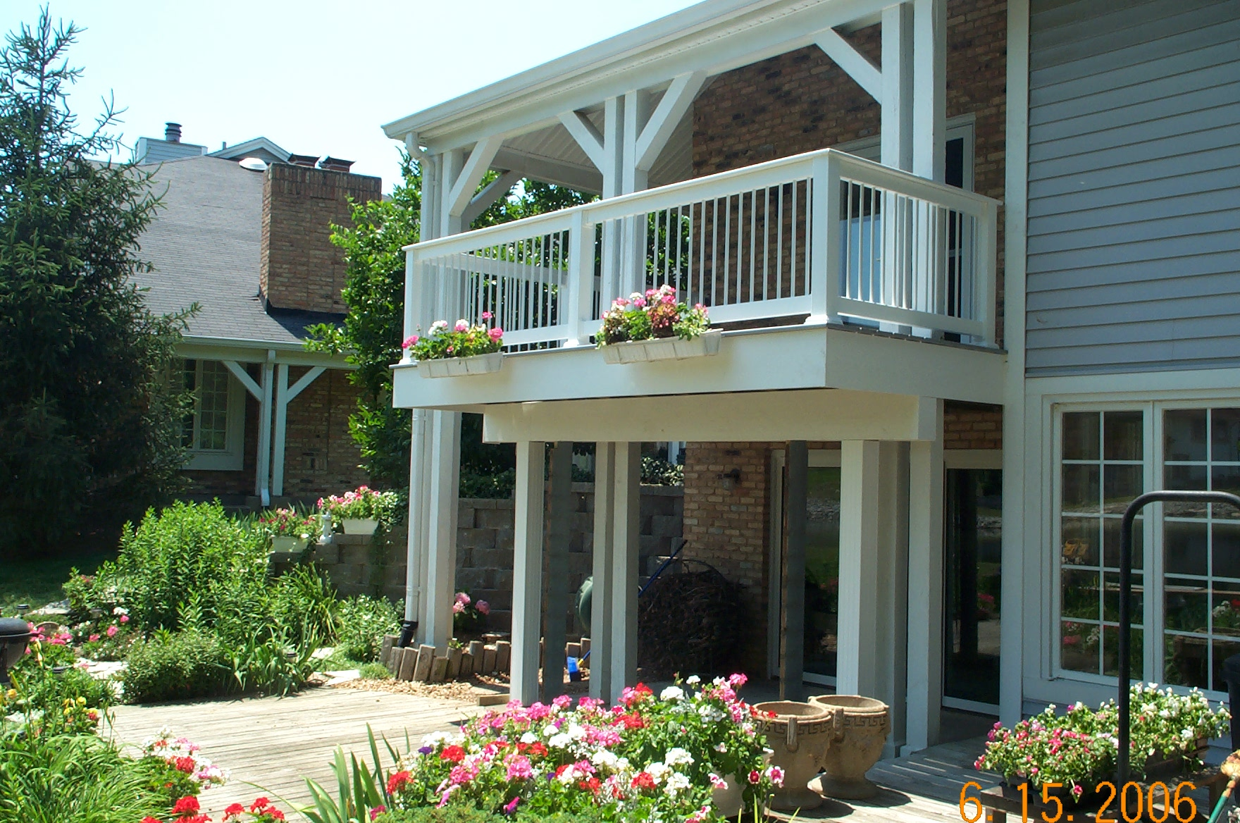 white porch deck planters
