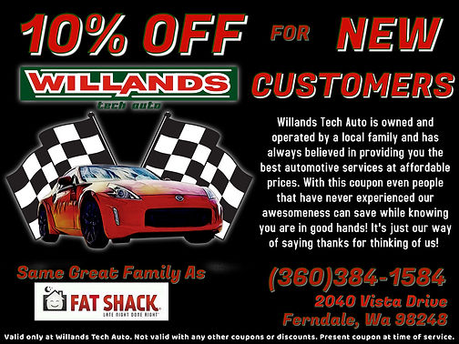 New Customer Coupon, Willands Tech Auto,