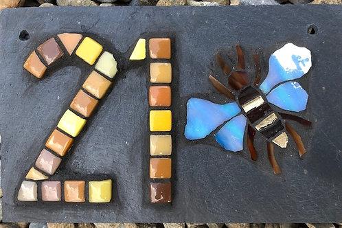 Mosaic house number bee/dragonfly/leaf/shamrock/elephant/cherry