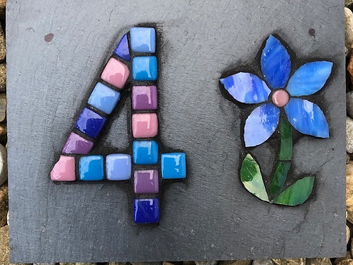 Mosaic house number with flower
