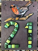 Mosaic_house_number_21_green_with_robin.