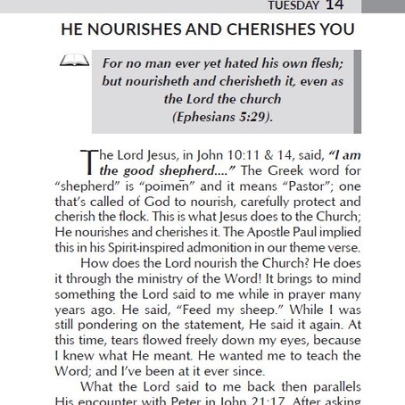 HE NOURISHES AND CHERISHES YOU