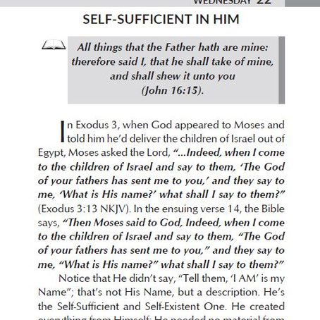 SELF-SUFFICIENT IN HIM