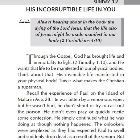 HIS INCORRUPTIBLE LIFE IN YOU