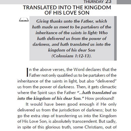 TRANSLATED INTO THE KINGDOM OF HIS LOVE SON