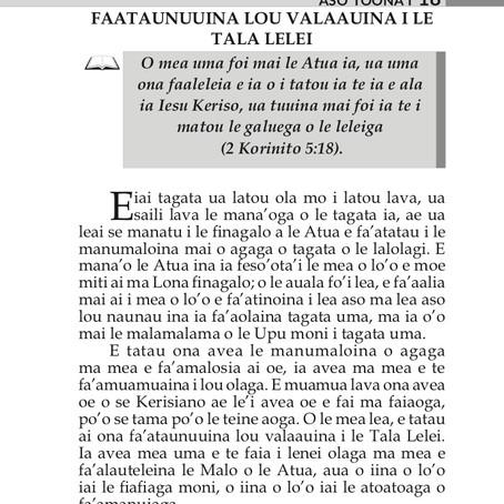 FAATAUNUUINA LOU VALAAUINA I LE TALA LELEI